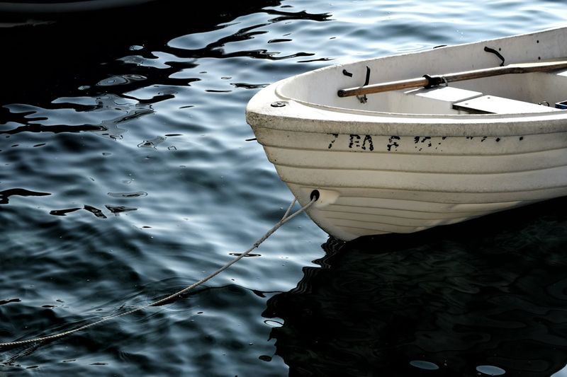 High Angle View Of Wooden Boat Moored In Lake