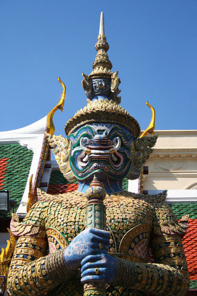 Architecture Art Blue Built Structure Clear Sky Creativity Culture Day Famous Place Guardian Naga King Outdoors Place Of Worship Religion Royal Palace Sculpture Spirituality Spotted In Thailand Statue Thailand Travel Destinations