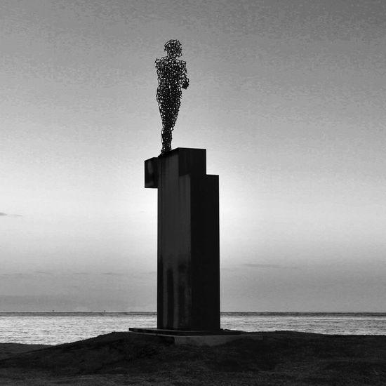 The human Modern Art Statue Sea Water Horizon Over Water Nature Beach Sky Outdoors