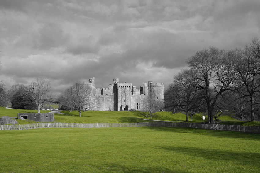 The greenery around the Bodiam Castle Architecture Building Exterior Built Structure Castle Colour Splash Grassy Green Historic History Medieval Old Old Ruin Sky The Past