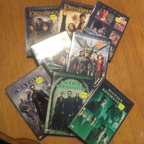 Sean and I got all of this the other day at #rasputinmusic and we only spent around $15.00. Legit. Movies Xmen Lordoftherings Rasputin Rasputinmusic Deals Thematrix Ascannerdarkly