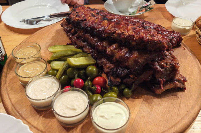 Ribs & Bleus Drinking Glass Food Food And Drink Freshness Healthy Eating Meat Plate Rib Ribs Ribs And Bread Roast Rib Table