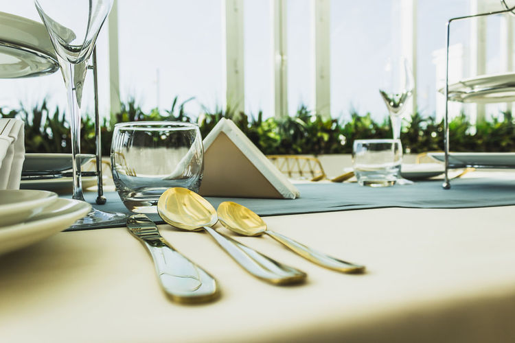 Close-up of cutlery on dining table