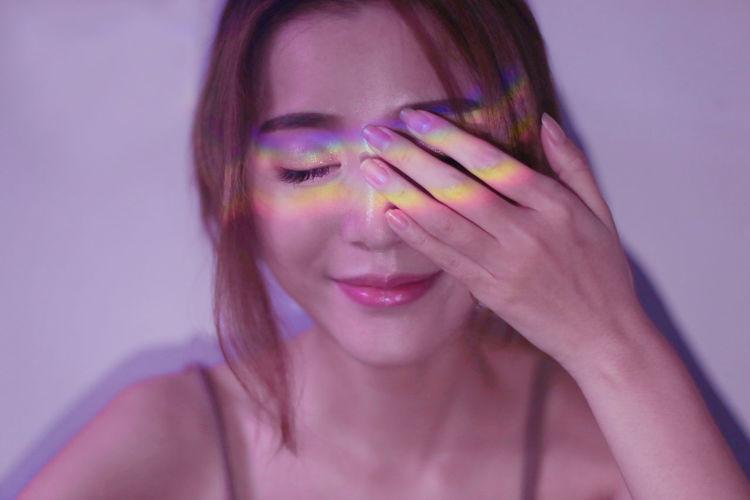 my rainbow Woman Beauty Close Up Face Girls Mood Rainbow Smile