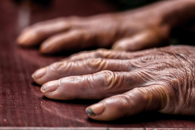 Adult Adults Only Close-up Human Body Part Human Hand People Social Issues Selective Focus Indoors  Hand Table Body Part Wood - Material Adult Lifestyles Wrinkled Focus On Foreground Dirty Dirt Ape Nail Finger