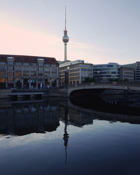 """""""telespargel"""" . Berliner Ansichten Reflection Architecture Business Finance And Industry Travel Destinations Tourism Travel Water Tower Cityscape Sky Night Modern No People Urban Skyline Outdoors City"""