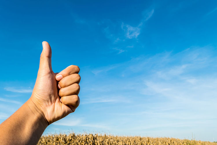 Cropped hand gesturing thumbs up at farm against blue sky