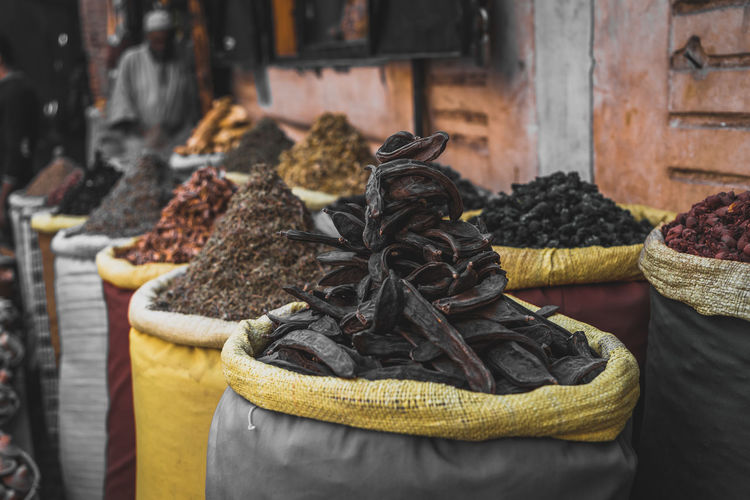 Marrakech Rabat Morocco Morocco 🇲🇦 Africa Souk Spice Spices People Bazaar Food Freshness Still Life Market For Sale Variation Close-up Healthy Eating Container Vanilla Buy Buying Herbs