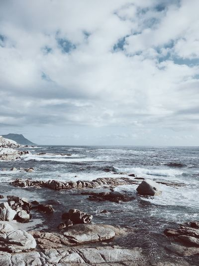 Winter ocean scene, Cape Town. Beach Beauty In Nature Cloud - Sky Cold Sky Day Horizon Over Water Nature No People Outdoors Scenics Sea Sky Tranquil Scene Tranquility Water Wave Winter