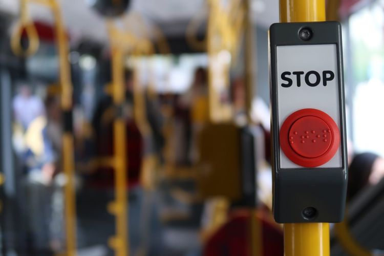 Focus On Foreground Communication Text Transportation Bus Close-up Technology No People Day Outdoors Stop