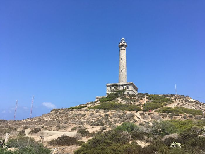 Beware EyeEm Selects Lighthouse_lovers Lighthouse Sky Architecture Built Structure Clear Sky Tower Building Exterior Nature Low Angle View No People Blue Building The Past History Day Travel Travel Destinations Plant Tall - High Sunlight Copy Space