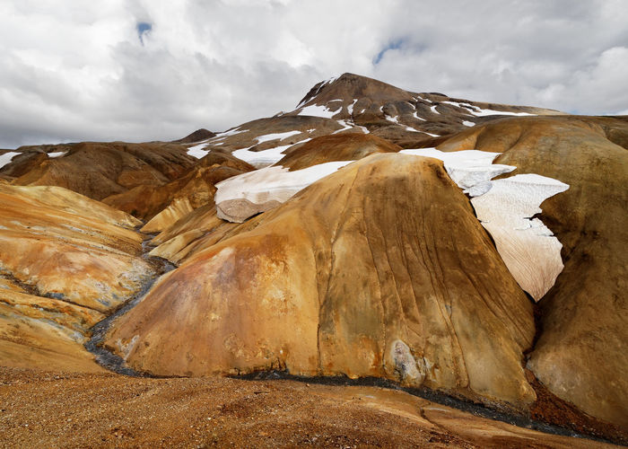 Landscape in ocher and brown tones with snowfields and a small river - Location: Iceland, Highlands, area 'Kerlingarfjöll' Creek Iceland Travel Volcano Landscape Brown Color Clouds Colorful Landscape Contrast Geological Formation Hills And Valleys Hillside Idyllic Scenery Mountain,north,trekking No People North Ocher Color Rhyolite Scenery Scenic Landscapes Shades Of Nature Small River Snow Trecking Volcanic Landscape Warm Colors