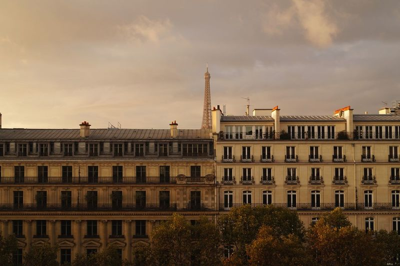 EyeEm Selects Architecture Building Exterior Business Finance And Industry Built Structure Façade City No People Travel Destinations Sunset Sky The Week On EyeEm EyeEm Best Shots Wall Windows Balcony Tourism Eiffel Tower Romantic Place Autumn Trees Colored Leaves Rooftops Chimney Paris