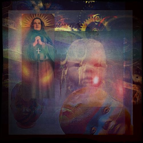 """Trilogy"" Pixlr Mextures Fusion Gears Modern Art Filters Photo Collage The Story Teller Religious Icons?.... Or Otherwise?....... Cogs"