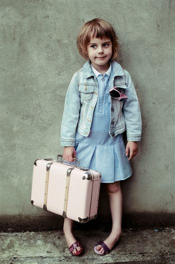 Casual Clothing Childhood Day Full Length Girls Holding Lifestyles Looking At Camera Luggage One Person Outdoors People Portrait Real People Standing Suitcase Let's Go. Together.