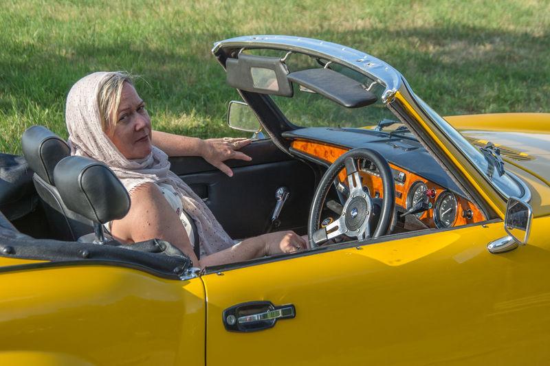 British Car Triumph Spitfire Sports Car Sunset Woman Portrait Yellow