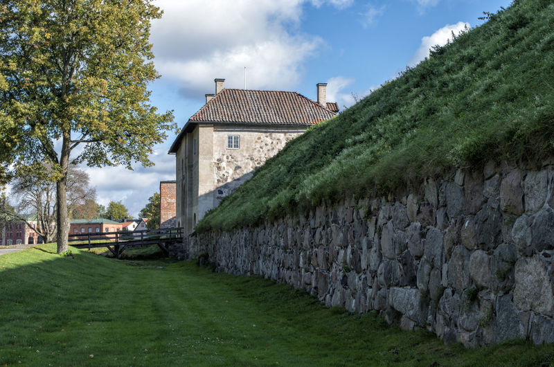 View of trees on yard by stone wall
