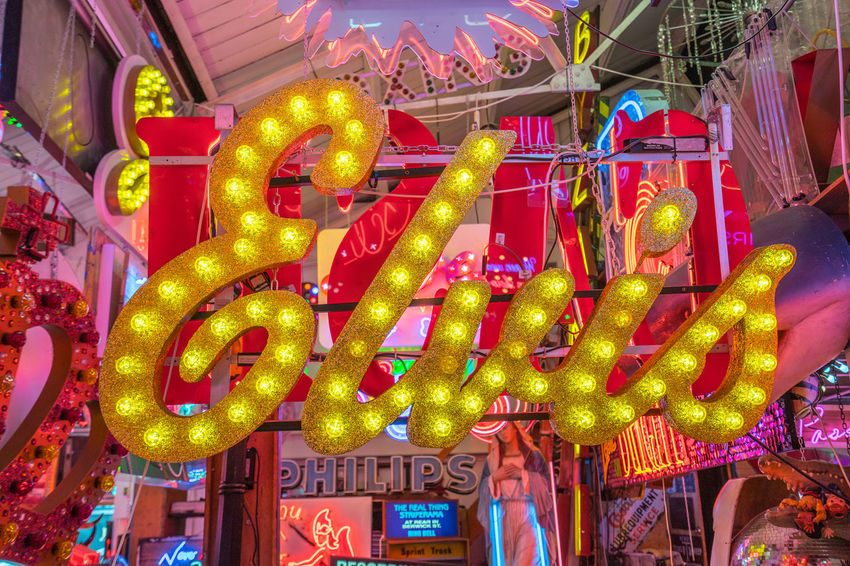 Neon signs and decorations at God's Own Junkyard in Walthamstow, London. Bright Colors Colourful Neon Signs City Lighting Close-up Elvis Sign For Sale Multi Colored Neon Neon Lights Text Urban Urban Lighting Yellow Sign