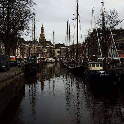 Reflection Water Transportation Mode Of Transport Tree Nautical Vessel Moored Sky Built Structure Building Exterior Architecture No People Outdoors Day Mast Cultures Groningen City Life Westerhaven Boats⛵️ Beauty In Nature