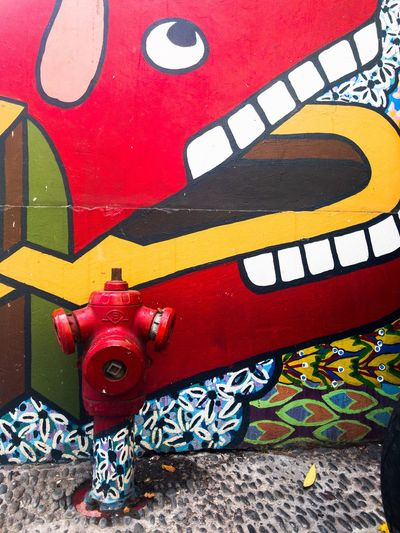 Red Day Outdoors No People Multi Colored Close-up Dog Mural Mural Art Hydrant Dogs love water hydrants