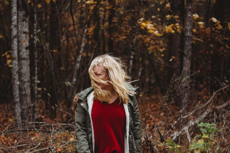 EyeEm Selects One Person Hair Lifestyles Clothing Women Real People Long Hair Nature Forest Tree Hairstyle Standing Waist Up Blond Hair Rear View Day Leisure Activity Land Plant Outdoors