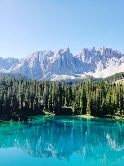 Scenic view of lake by mountains against clear sky