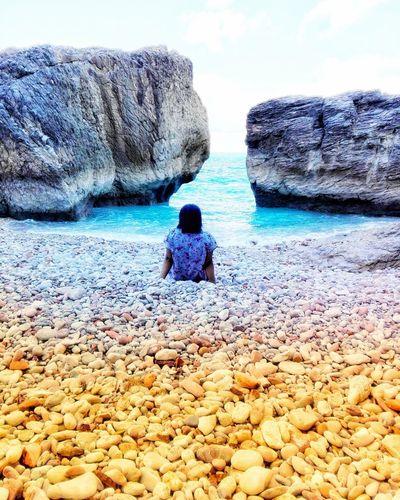 Water Child Childhood Sea Beach Boys Sand Sitting Rear View Sky
