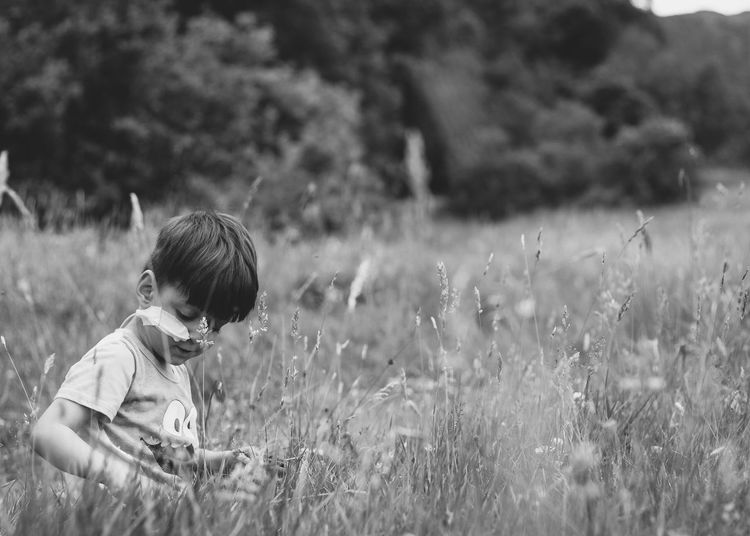 Black And White Child Childhood Real People Field One Person Land Plant Casual Clothing Outdoors Nature Lifestyles Grass Boys Growth Innocence