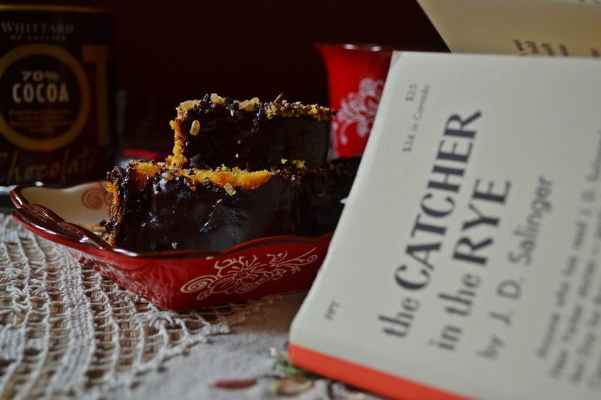 Chocolate Cake Close-up Cocoa Cosy Home Day Favourite Books Home Comforts  Indoors  Leisure Time Lifestyles No People Reading Books Winter At Home Winter Lei Winter Leisure