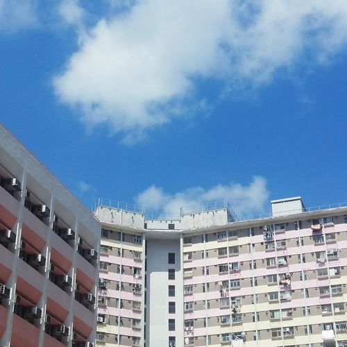 Hong Kong House Estate Blue Sky Clound White Sunny Hot Low Apartment Ghetto Photograph Residential Building Business Finance And Industry Façade