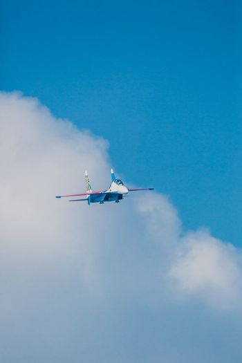 Aerobatics Aerospace Industry Air Vehicle Airplane Airshow Blue Cloud - Sky Day Flying Journey Mid-air MIG 29 Mode Of Transport On The Move Outdoors Russian Knight Sky Smoke - Physical Structure Speed Stunt Su-27 Technology Transportation Travel Vapor Trail