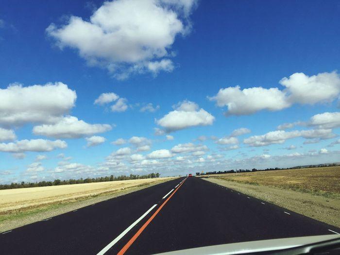 вата сладкая облака Road Sky Day