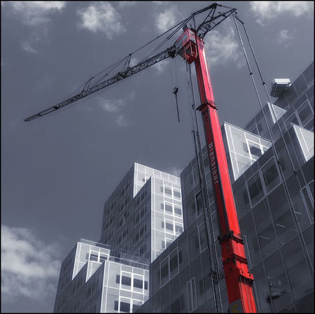 Architecture Building Site Crane Koolhaas Modern Modern Architecture Oma One Color Red Rem Koolhaas Rotterdam