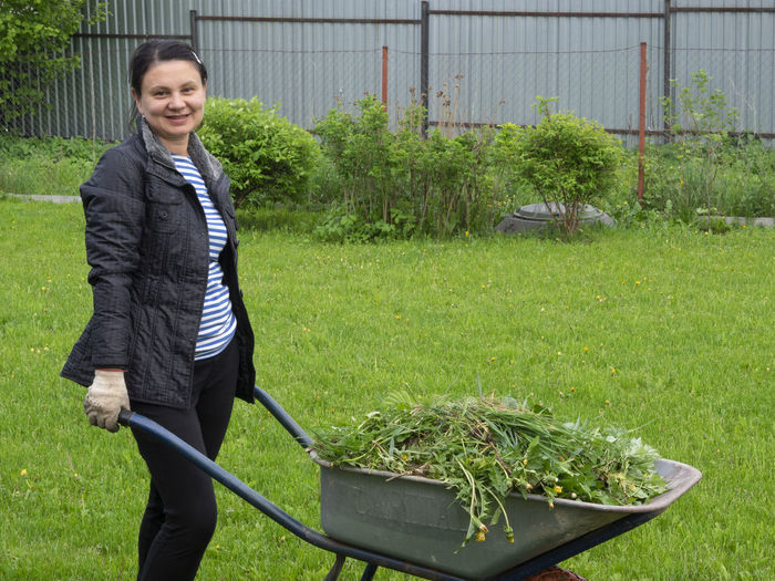 Caucasian woman with a garden trolley full of weeds Trolley Woman Adult Business Care Caucasian Day Emotion Full Garden Gardening Grass Green Color Growth Happiness Holding Looking At Camera Nature One Person Outdoors Plant Portrait Smiling Standing Three Quarter Length Weeds Young Adult