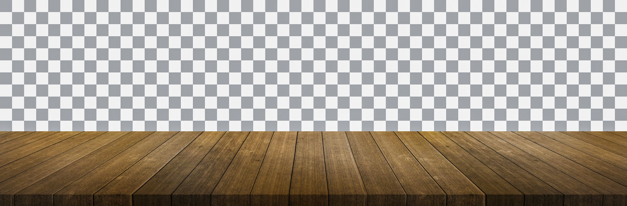 Surface level of wooden floor against wall
