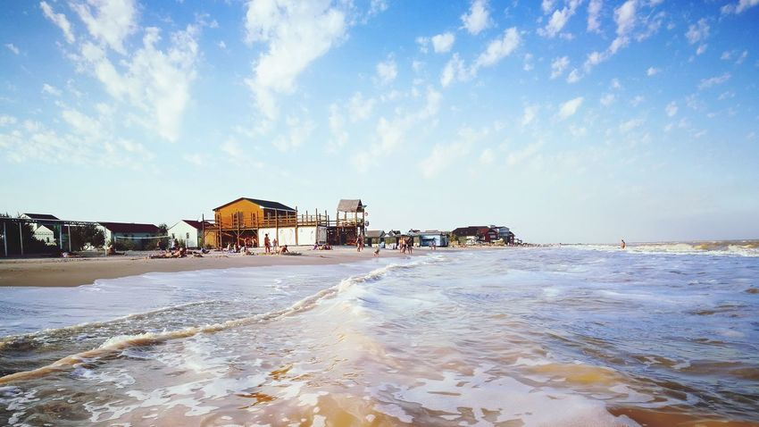 EyeEm Selects Sea Beach Water Vacations House Sky Outdoors Built Structure Horizon Over Water Blue Tourist Resort Summer Sand Landscape Azov Sea Ukraine 💙💛 Cloud - Sky Seascape