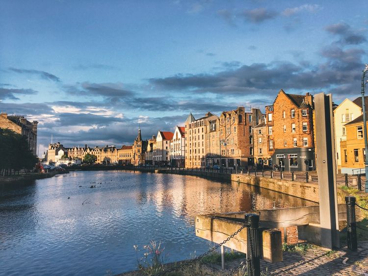 Leith Blue Sky Leith Water Reflections Scotland Edinburgh Architecture Built Structure Building Exterior Sky Cloud - Sky Water City River Waterfront