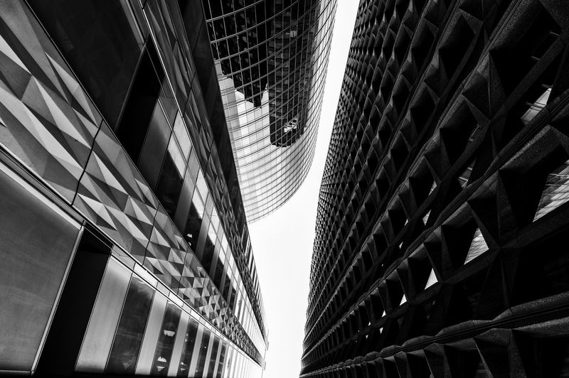 Paris La Defense Architecture Building Building Exterior Built Structure Ceiling City Day Directly Below J2mc-photographie Low Angle View Modern Nature No People Office Office Building Exterior Outdoors Pattern Sky Skyscraper Sunlight Tall - High Window