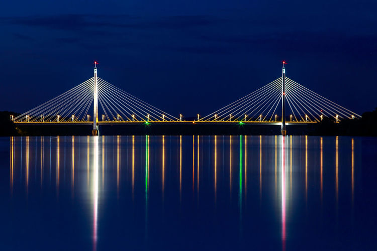 Built Structure Water Architecture Connection Bridge Bridge - Man Made Structure Reflection Sky Blue No People Waterfront Nature River Suspension Bridge Cable-stayed Bridge Outdoors Transportation Danube Megyeri Megyeri Bridge Long Exposure Beautiful Bacground Night