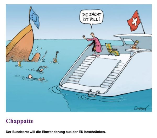 A cartoon of the Swiss cartoonist 'Chappatte': The Swiss Federal Council will limit the immigration from countries of the European Union. Cartoon Switzerland Europeanunion Immigration