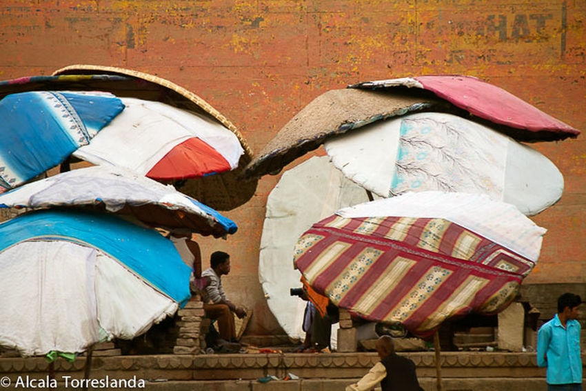 Colorful umbrellas to protect from the sun and the heat in Varanasi India. Colors Streetphotography People Indian Incredible India India People Photography Travel Varanasi Ganges River