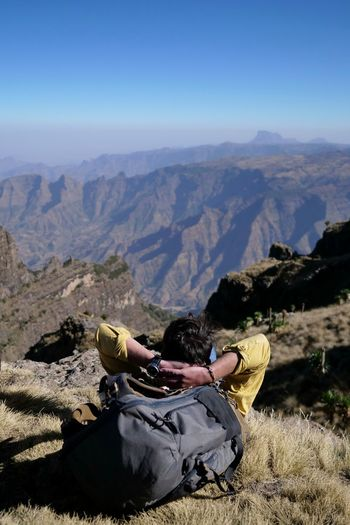 Simien Mountains Simien Mountains National Park Hiking Resting Ethiopia Africa Mountain Adventure Low Section Sport Shadow Shoe Human Leg Men Sky Hiker Physical Geography Canyon The Great Outdoors - 2019 EyeEm Awards