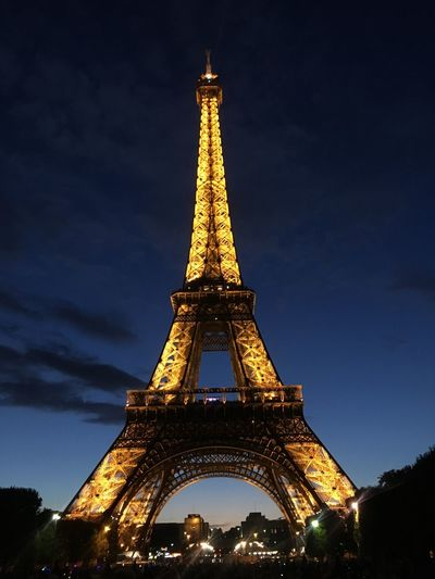 La vie est belle. Paris No Filter Tower Architecture Tall - High Built Structure Travel Destinations Tourism Low Angle View Travel Illuminated Sky Night City No People