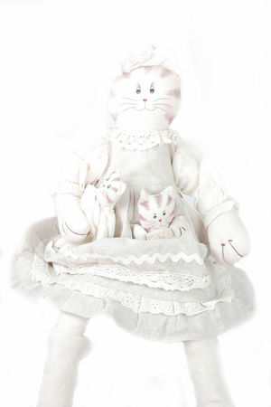 Babys Cat Close-up Day Doll Height Key No People Wedding Dress White Background