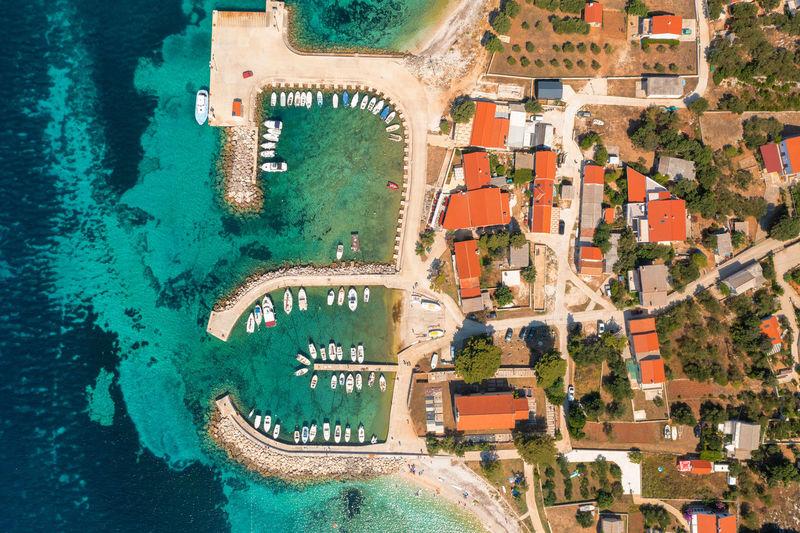Aerial view of premuda island, the adriatic sea in croatia