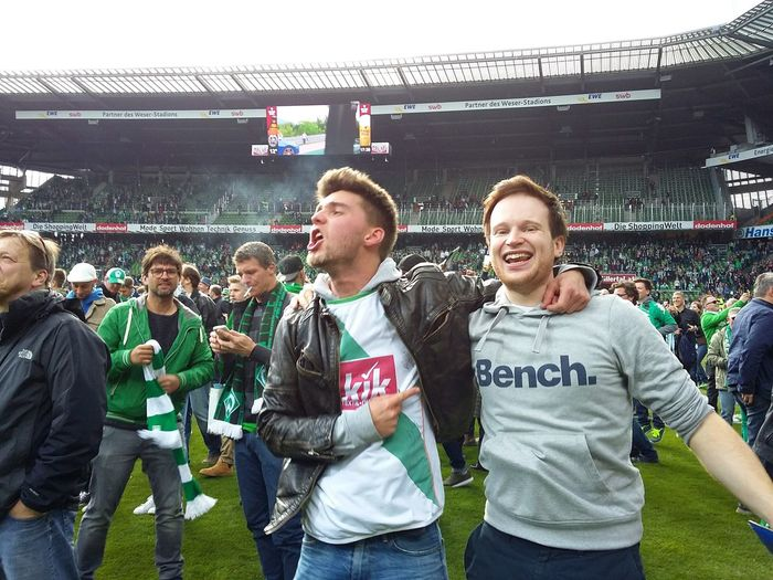 Joy after the Game. · Bremen Germany Weserstadion Werder Bremen Werder Fussball Football Real Football Soccer Football Stadium Football Fever Fans People Watching SUPPORT Celebration Close On The Field Beautiful Day