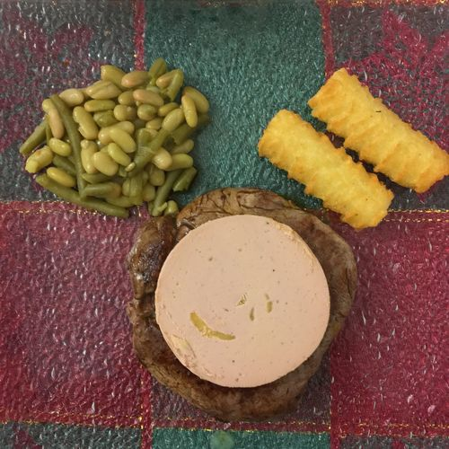 Food. Christmas. Tournedos rossigni. Beef and foie gras. French cuisine. Beef Boeuf Cooking Cooking At Home Flageolet Foie Gras Food Food And Drink French Cooking French Cuisine Green Beans No People Ready-to-eat Tournedos Tournedos Rossigni