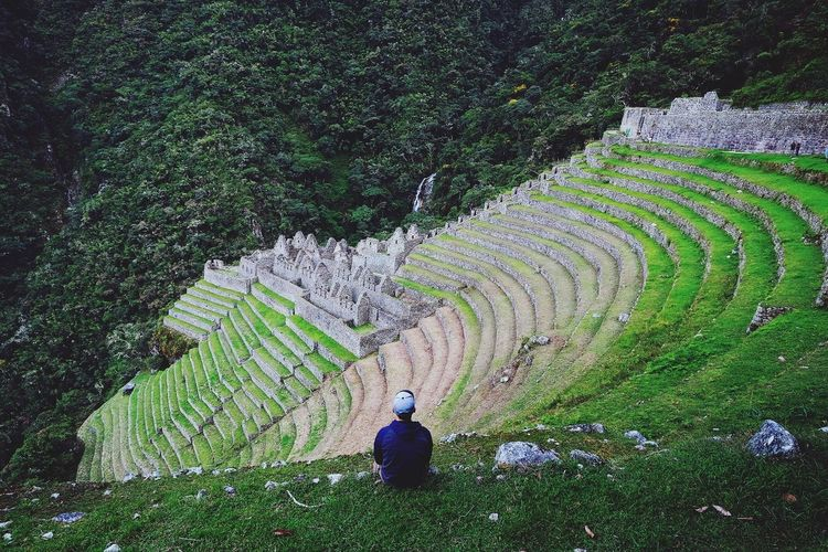 Contemplating Peru Landscape Scenery Scenics Mountain Journey Architecture Ancient Civilization Inca Trail Inca Terraced Field Alone Thinking Terraced Field High Angle View Cultivated Land Old Ruin