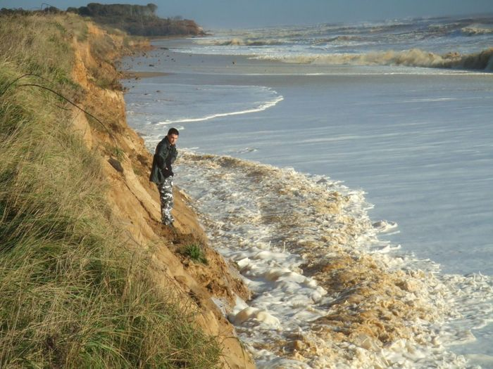 Coastal erosion. Storm surge. Danger. Cut off by tide. Cut Off  Stranded Hightide Cut Off By Tide Danger Dangerous Southwold Storm Surge Coastal Erosion Water Sea Beach Land Real People Beauty In Nature Sunlight