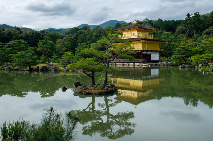 Kyoto Architecture Beauty In Nature Building Exterior Built Structure Cloud Cloud - Sky Cloudy Day Gold Green Green Color Kinkaku-ji Lake Mountain No People Outdoors Reflection Scenics Sky Standing Water Tranquil Scene Tranquility Tree Water Waterfront